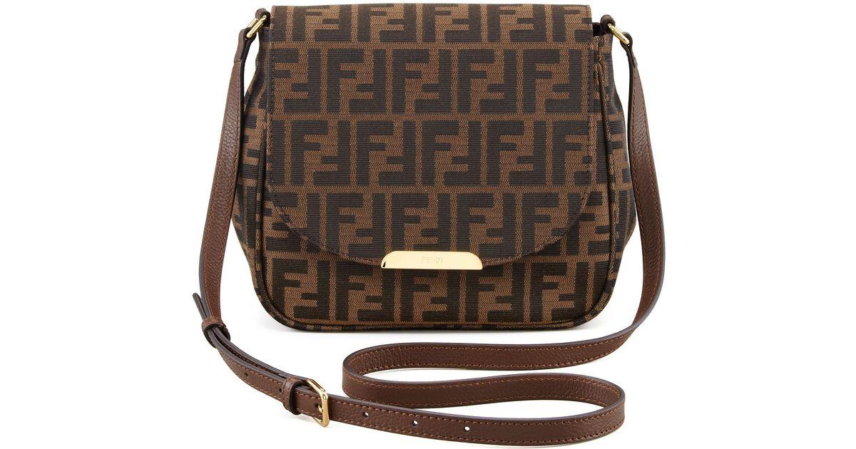 6e5d3a2d8fbf Lyst - Fendi Zucca Small Crossbody Bag in Brown
