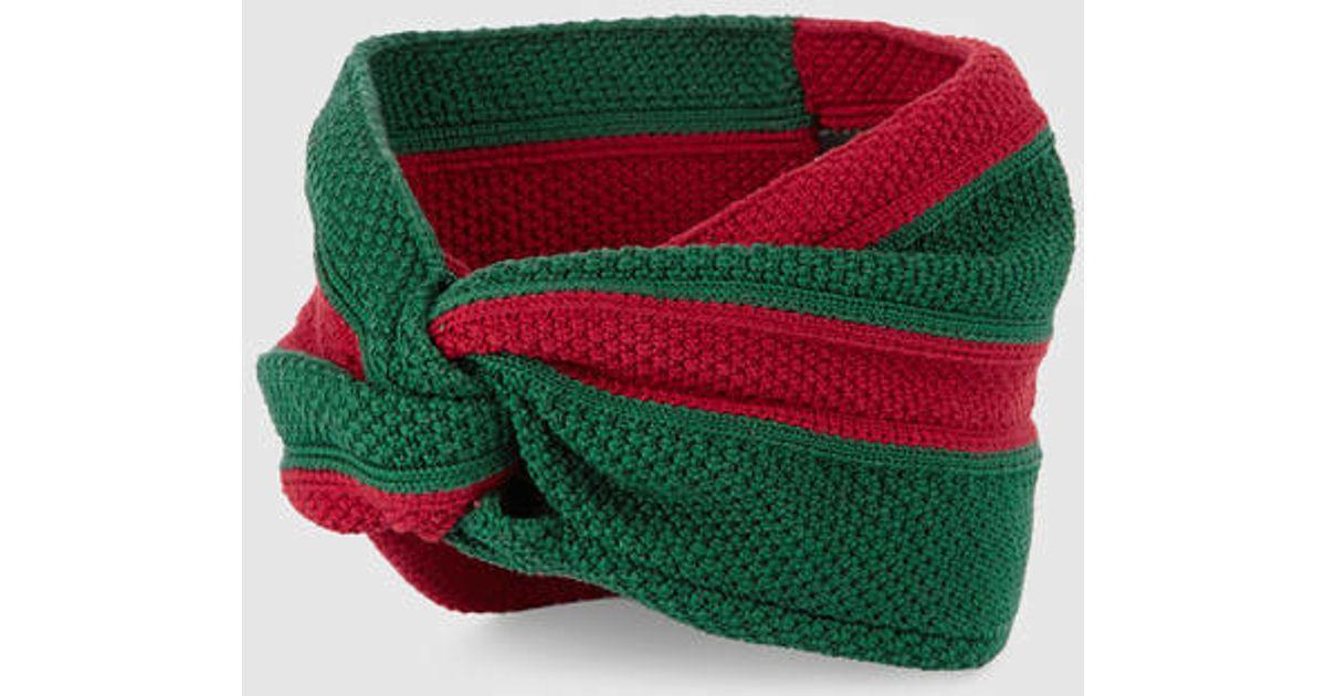 ad69b290c05 Lyst - Gucci Web Cotton Headband in Green