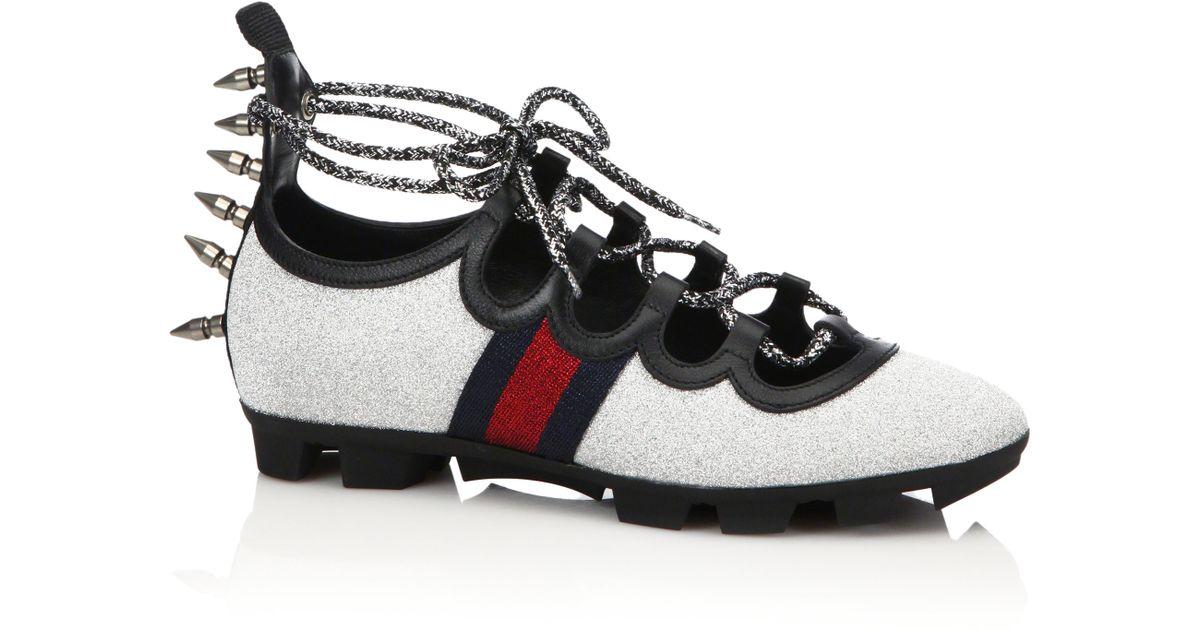 683e5e42c5f Lyst - Gucci Titan Spiked Glitter Web Sneakers in Metallic