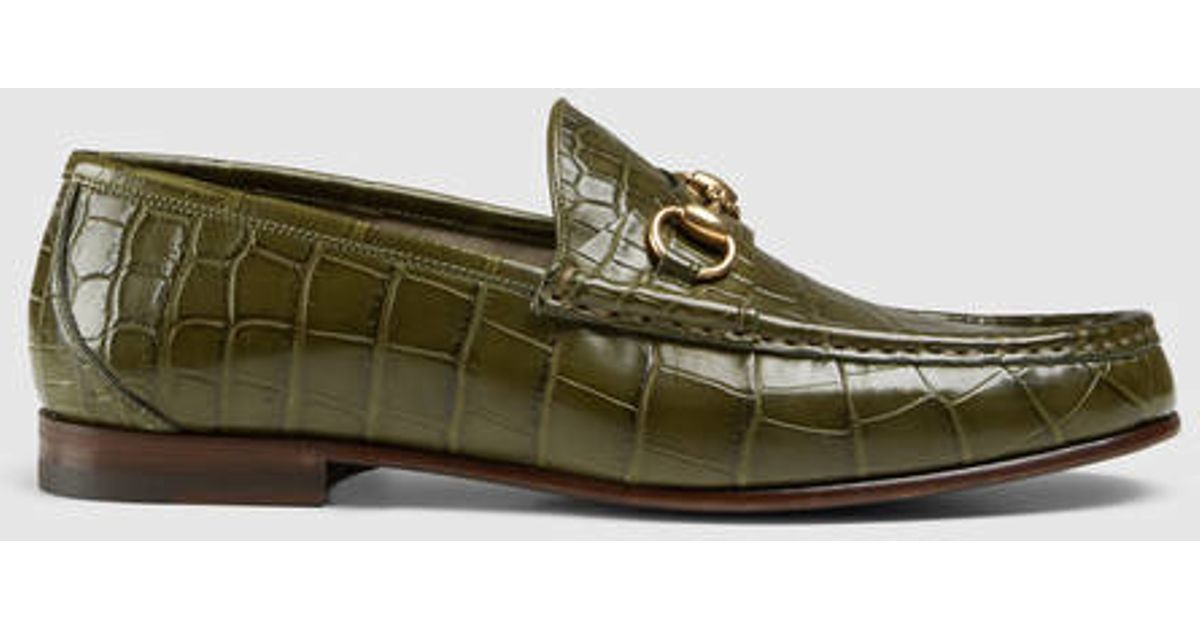 1578c115d2b Lyst - Gucci 1953 Horsebit Crocodile Loafer in Green for Men