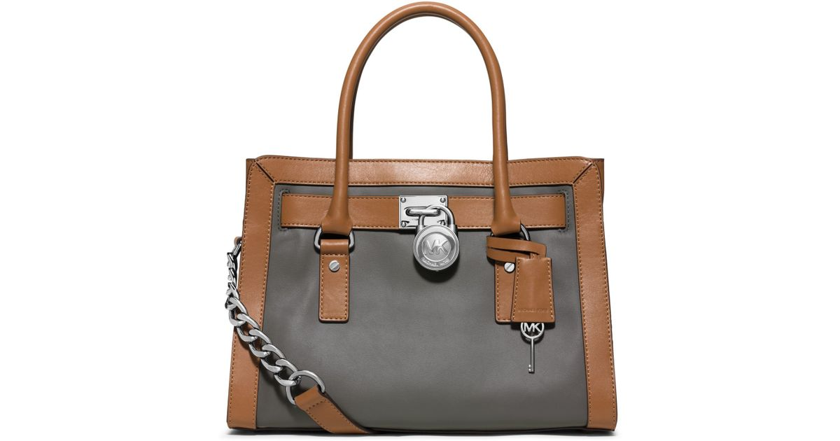 ea23c8b2f2d6 Lyst - Michael Kors Hamilton Two-tone Leather Satchel in Brown