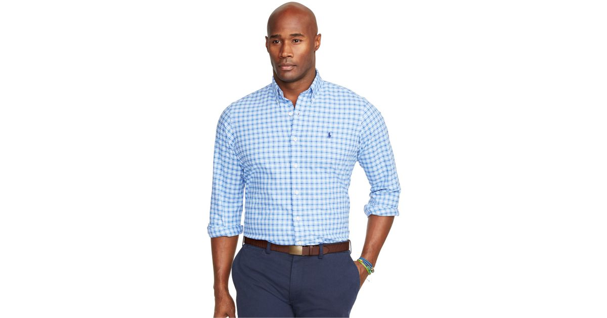 Polo ralph lauren big and tall gingham oxford shirt in for Big and tall oxford shirts