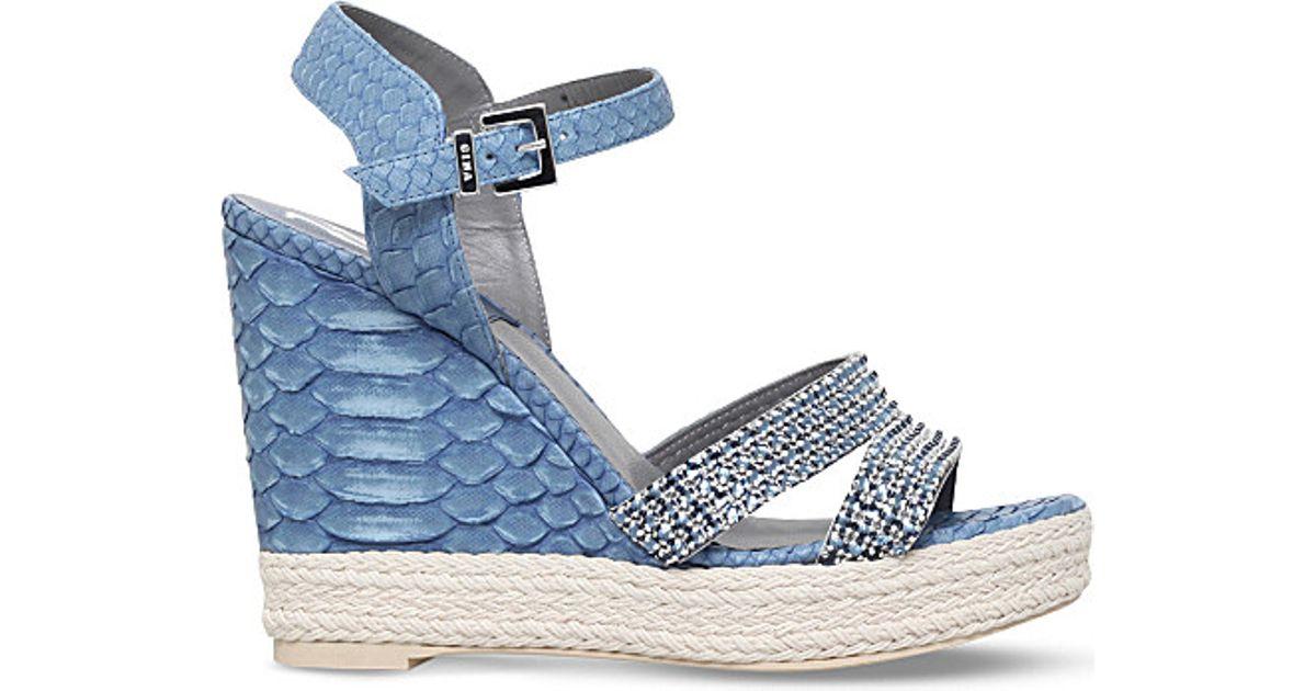 804831df451 Lyst - Gina Tati Swarovski Crystal-embellished Snakeskin Wedge Sandals in  Blue