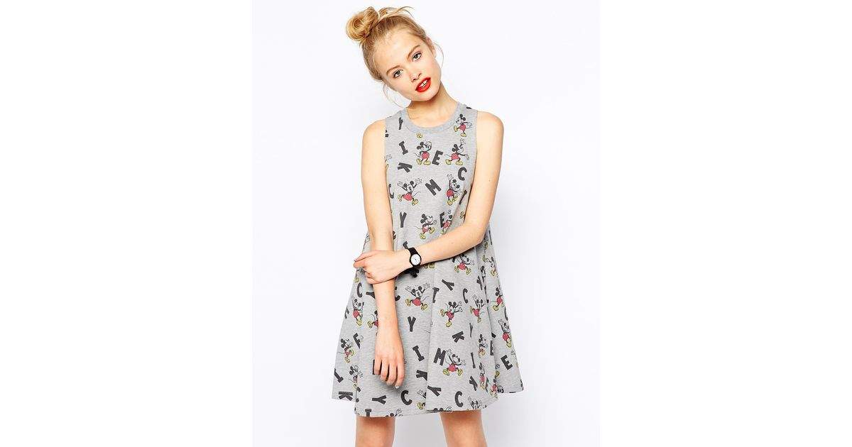 66d0b1e6 ASOS Swing Dress in Mickey Mouse Print in Gray - Lyst