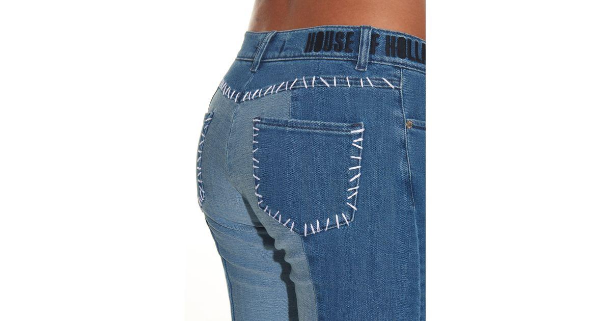 House Of Holland Patchwork Denim Skinny Jeans In Blue Denim Save 60 Lyst