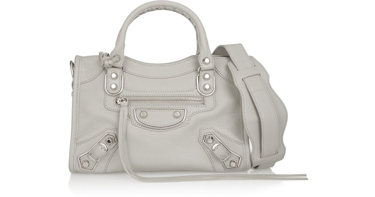 c323cf71a66f3 Lyst - Balenciaga Classic Metallic Edge City Mini Textured-leather Shoulder  Bag in Gray