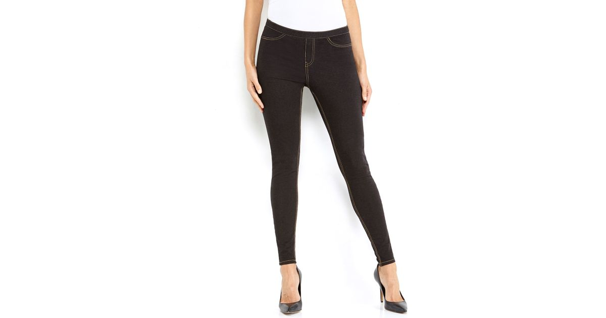 Hue Denim Leggings in Black | Lyst