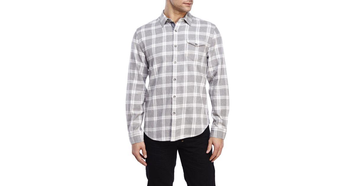 Dkny heather grey plaid twill shirt in gray for men for Grey plaid shirt womens