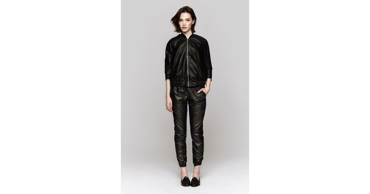 94f6e64e9250e Lyst - Heidi Merrick Vegan Leather Sweatpants in Black