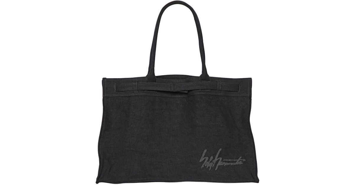 Yohji yamamoto Signature Washed Linen Shopping Bag in Black | Lyst