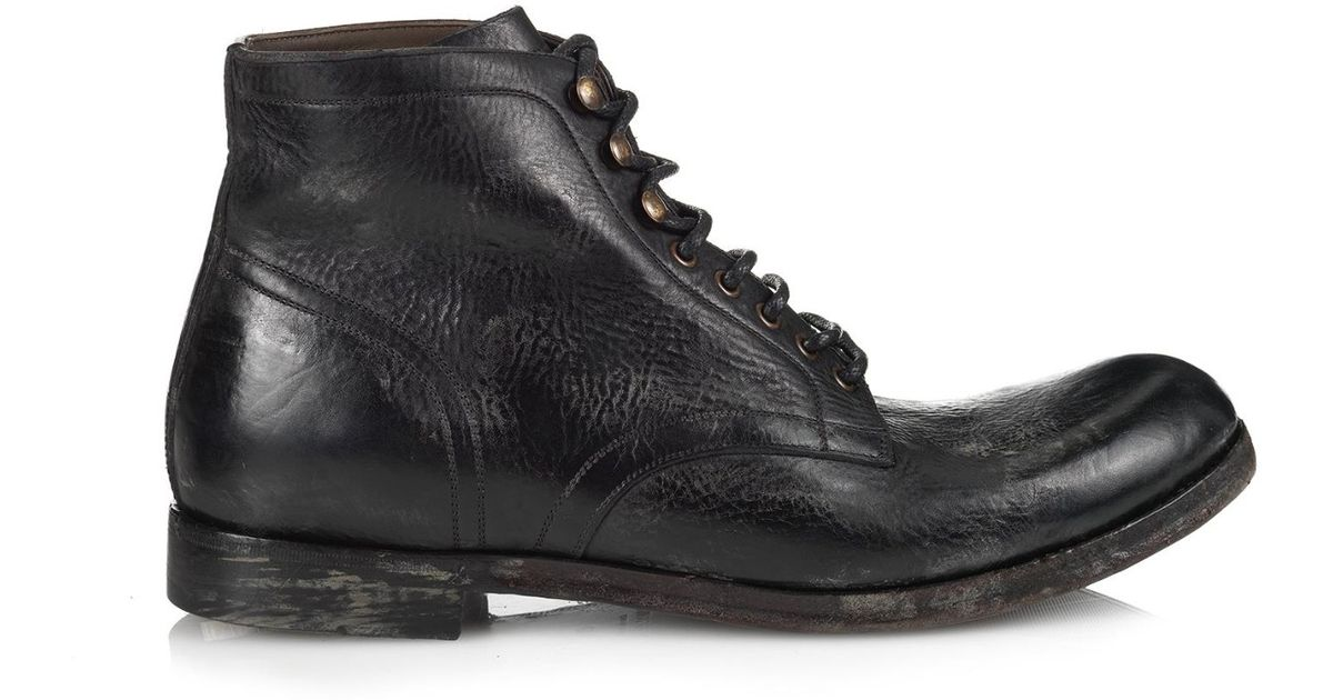 dolce gabbana distressed leather boots in black for