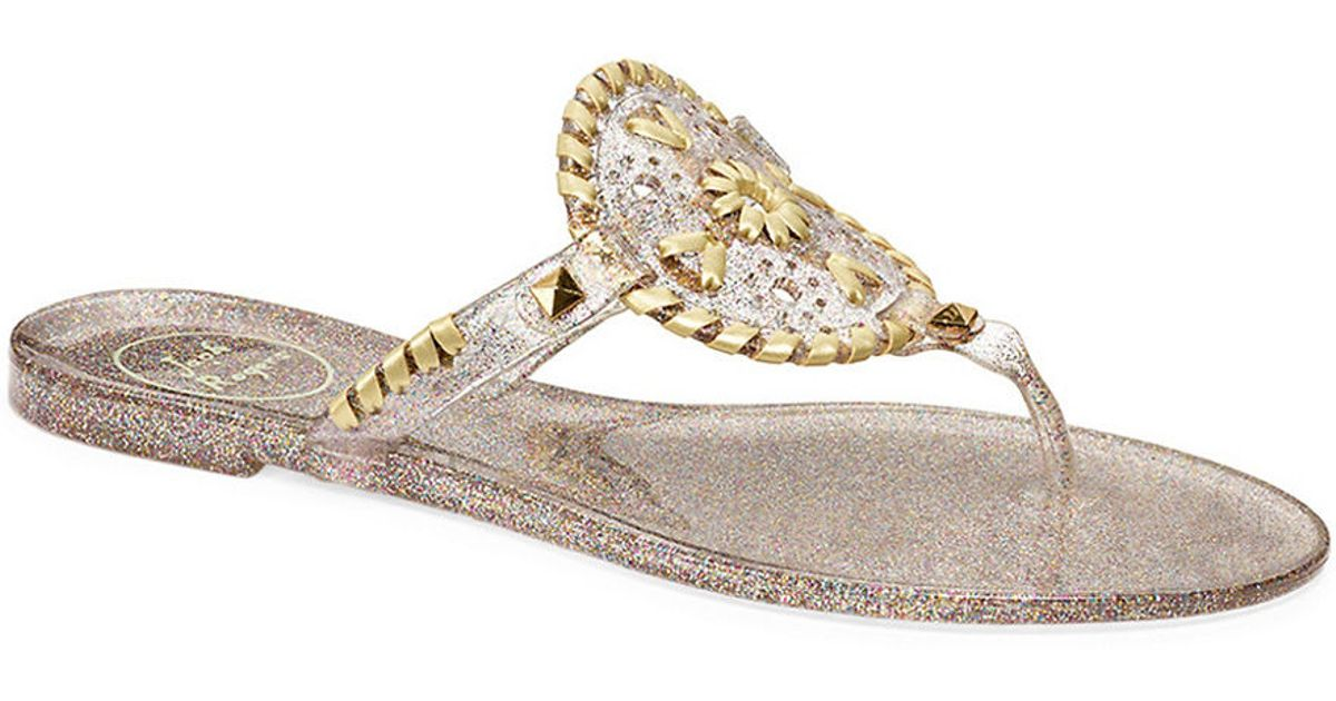 Jack Rogers Sparkle Georgica Jelly Sandals In Gold Clear