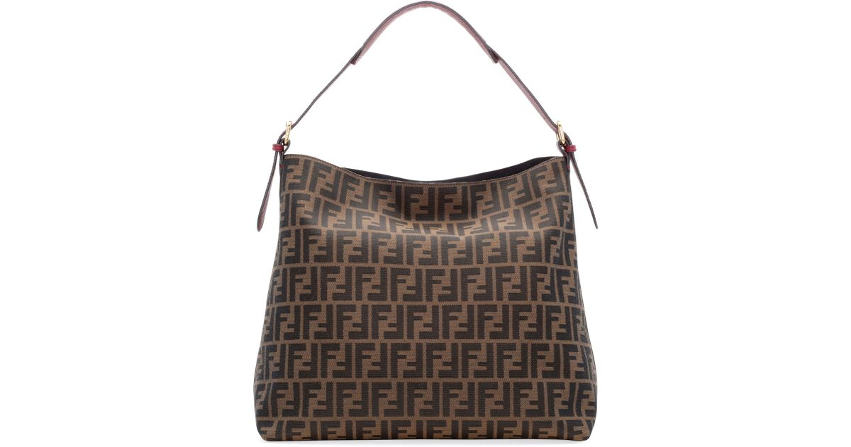 65e9a6ea3556 Lyst - Fendi Zucca-Print Large Canvas Hobo Bag in Brown
