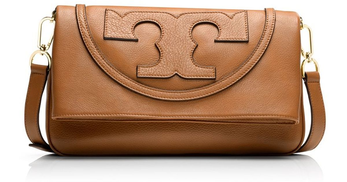 fef0a2afa Tory Burch All-T Suki Fold-Over Messenger in Brown - Lyst