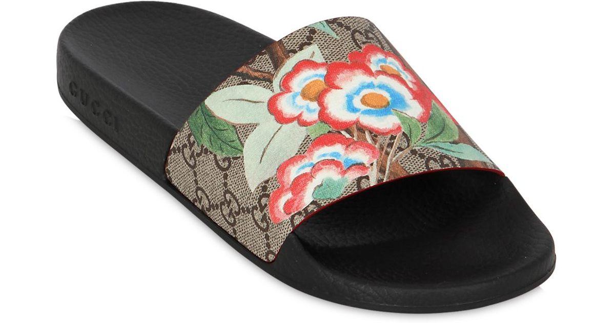 ee3424e6c3d Lyst - Gucci 20mm Pursuit Gg Supreme Slide Sandals