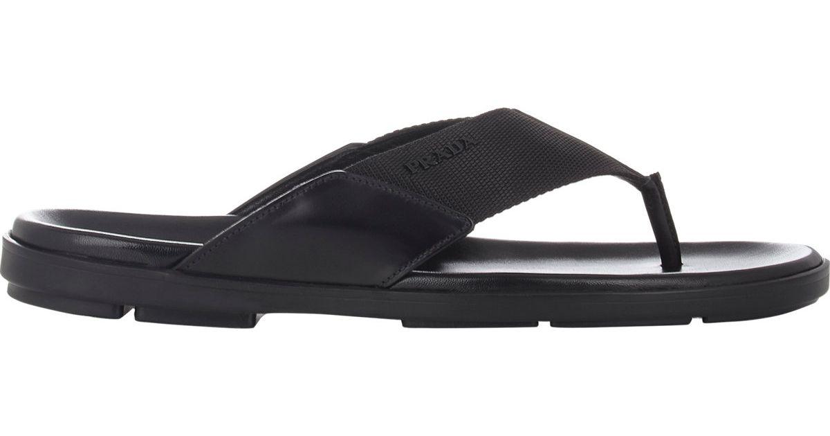 de892e5c8 Lyst - Prada Men s Spazzolato   Nylon Thong Sandals in Black for Men