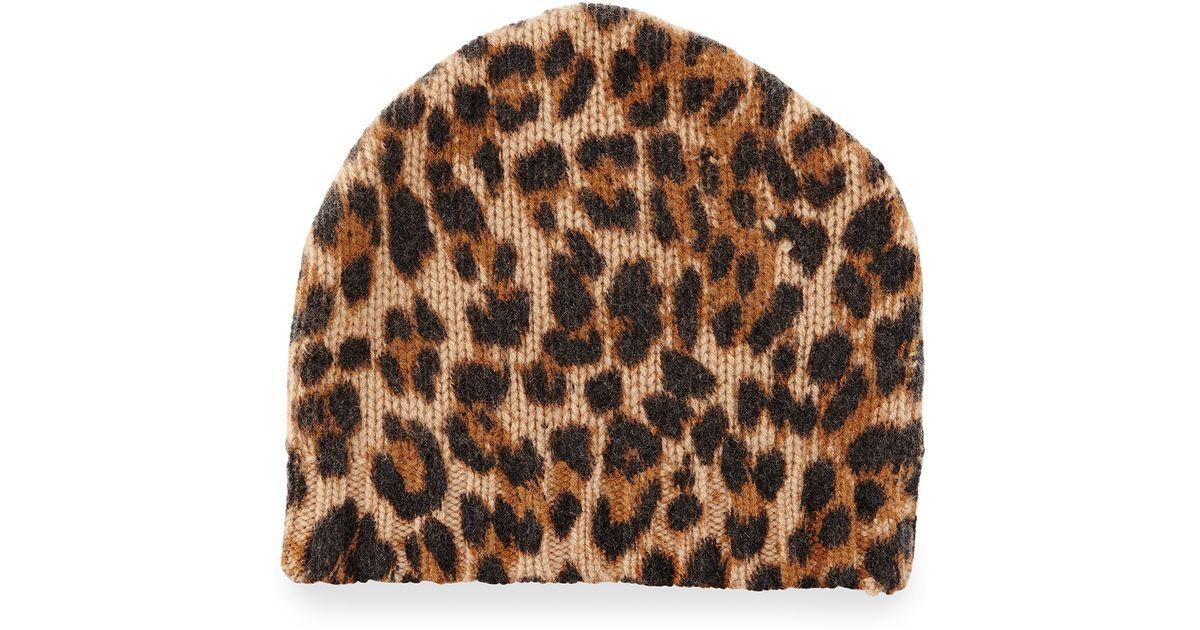 58b6c0d68858 Sofia Cashmere Leopard-print Cashmere Beanie Hat - Lyst