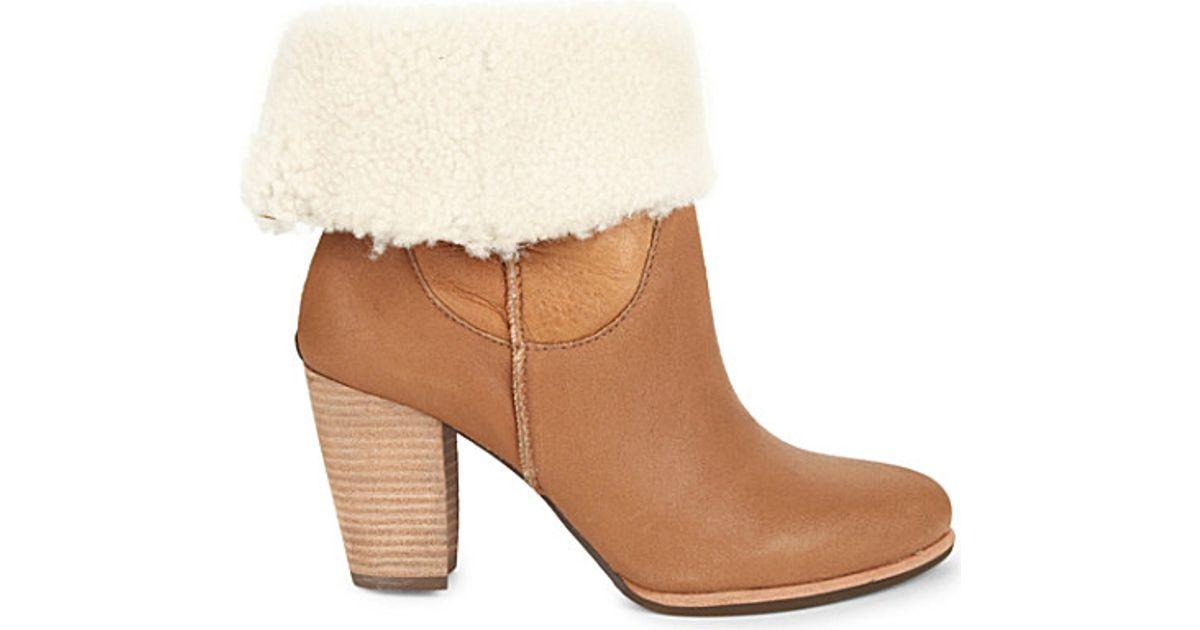 ugg charlee sheepskin boots in brown lyst