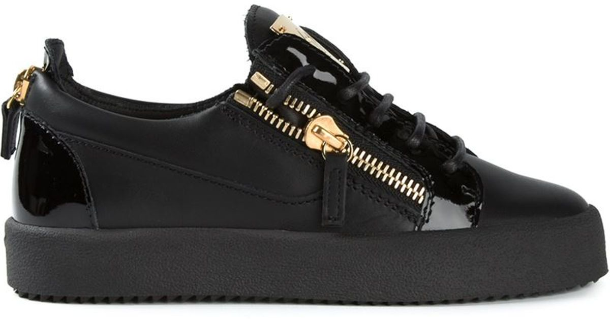 Lyst - Giuseppe Zanotti Side Zip Detail Sneakers in Black bb38fb3fcd2a