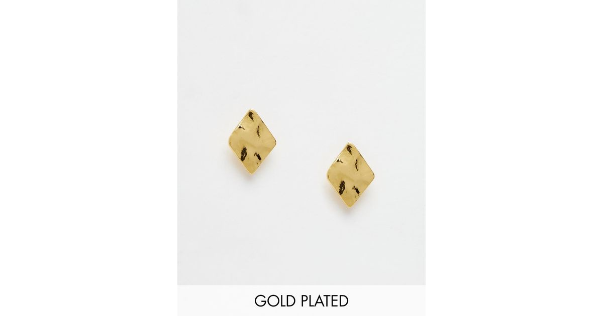 jewelry gorjana normal stud gallery product in lyst shaped diamond metallic gold earrings