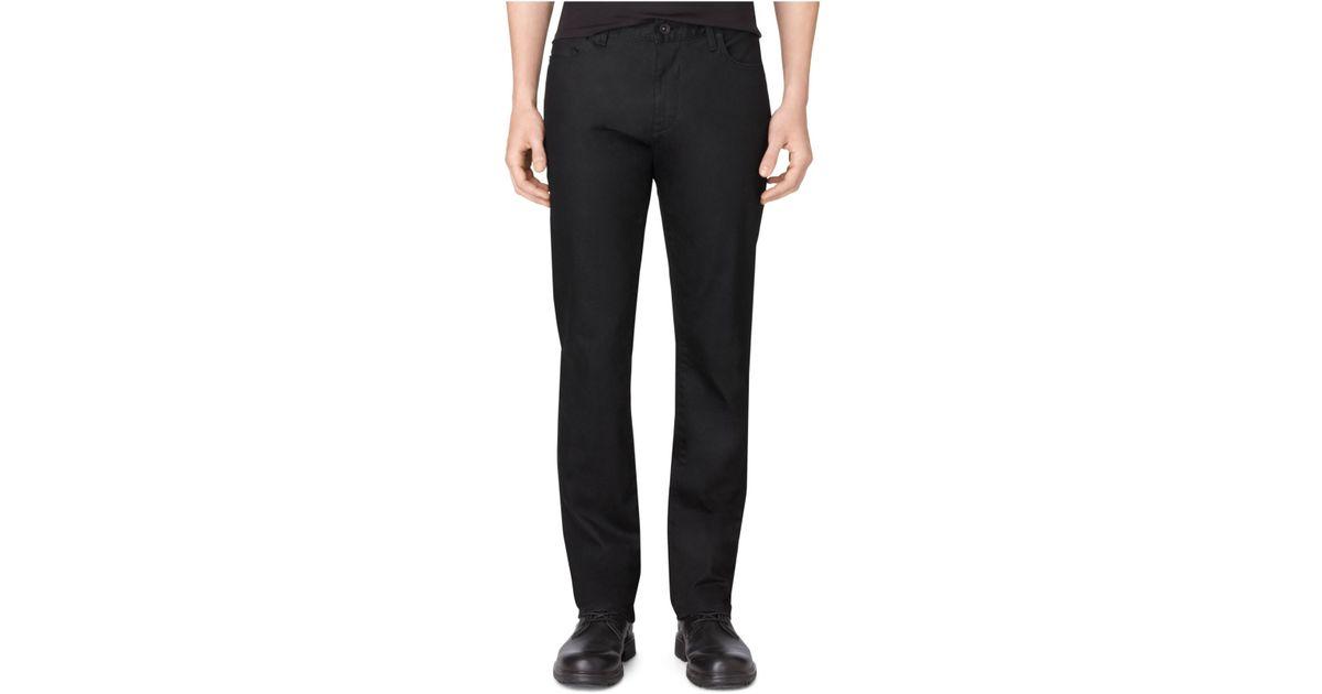 calvin klein stretch black slim straight fit jeans in. Black Bedroom Furniture Sets. Home Design Ideas