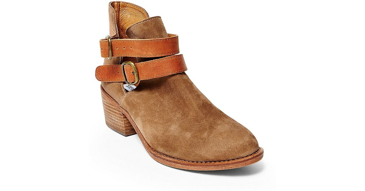 steve madden raskal suede ankle boots in brown lyst