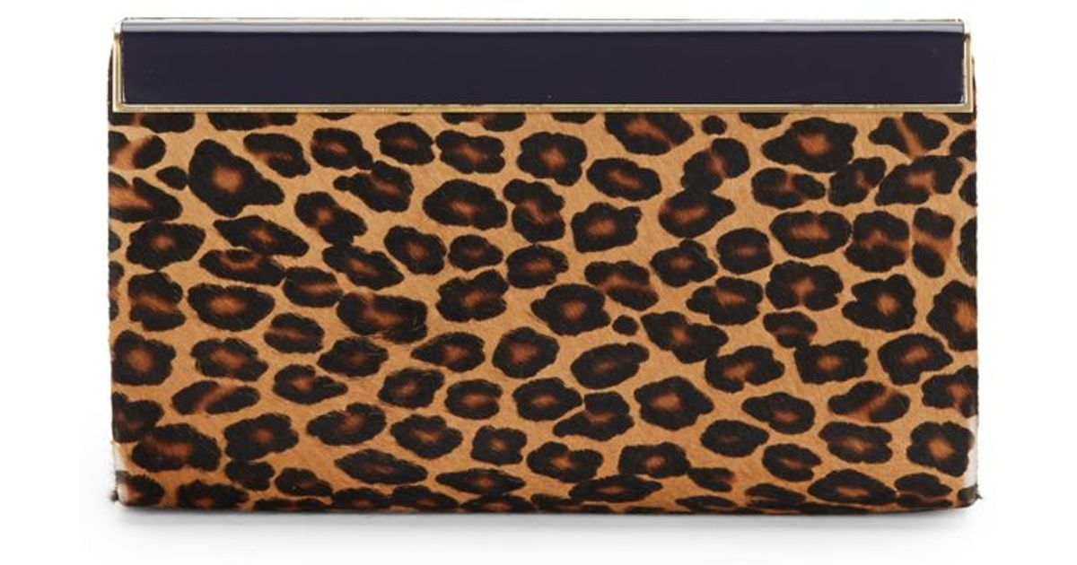 a81e09c63e Jimmy Choo Cayla Leopard-print Calf Hair Clutch - Lyst