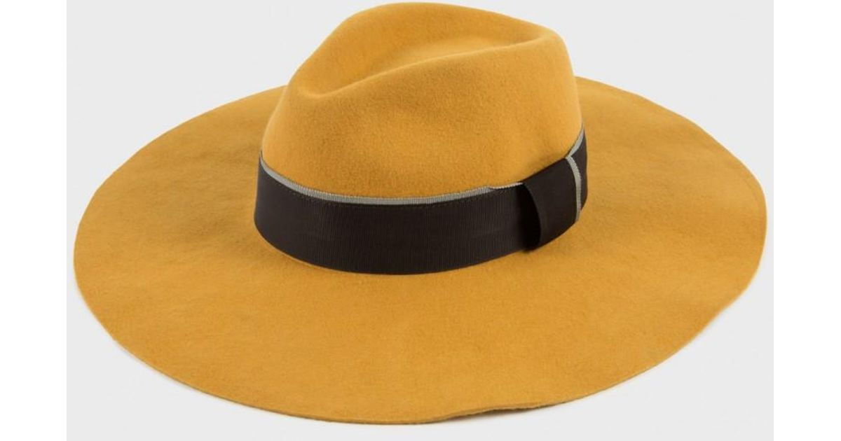 0f2be40e5eced Paul Smith Mustard Wool Wide-Brim Fedora Hat in Yellow - Lyst