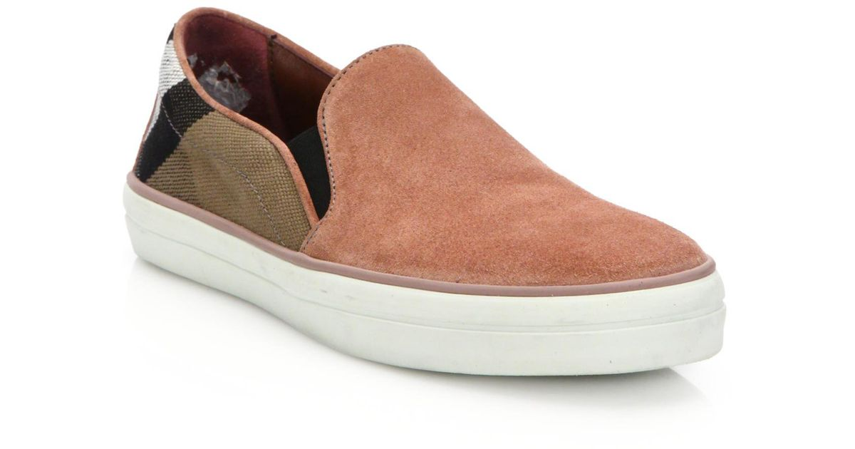 burberry gauden slip on sneakers in brown for lyst