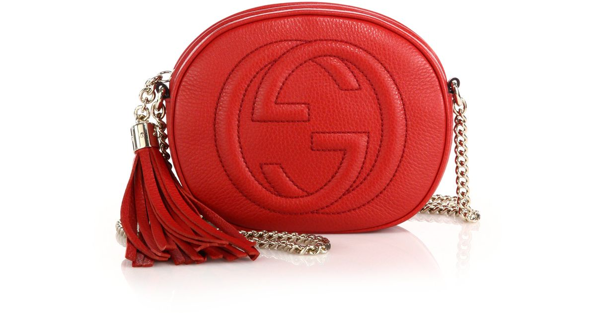 bc81d538c65 Lyst - Gucci Soho Leather Mini Chain Bag in Red