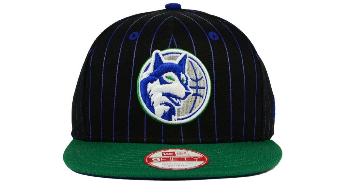 ba139fc9075a29 KTZ Minnesota Timberwolves Vintage Pinstripe 9fifty Snapback Cap in Black  for Men - Lyst