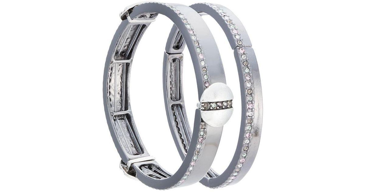 Camila Klein Millipede leather trim two-bracelet set - Metallic z0yE91VgLE