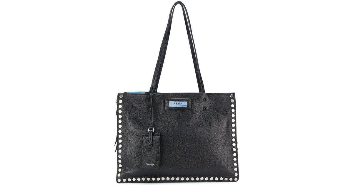 36ac9e1b422b Lyst - Prada Etiquette Studded Tote Bag in Black