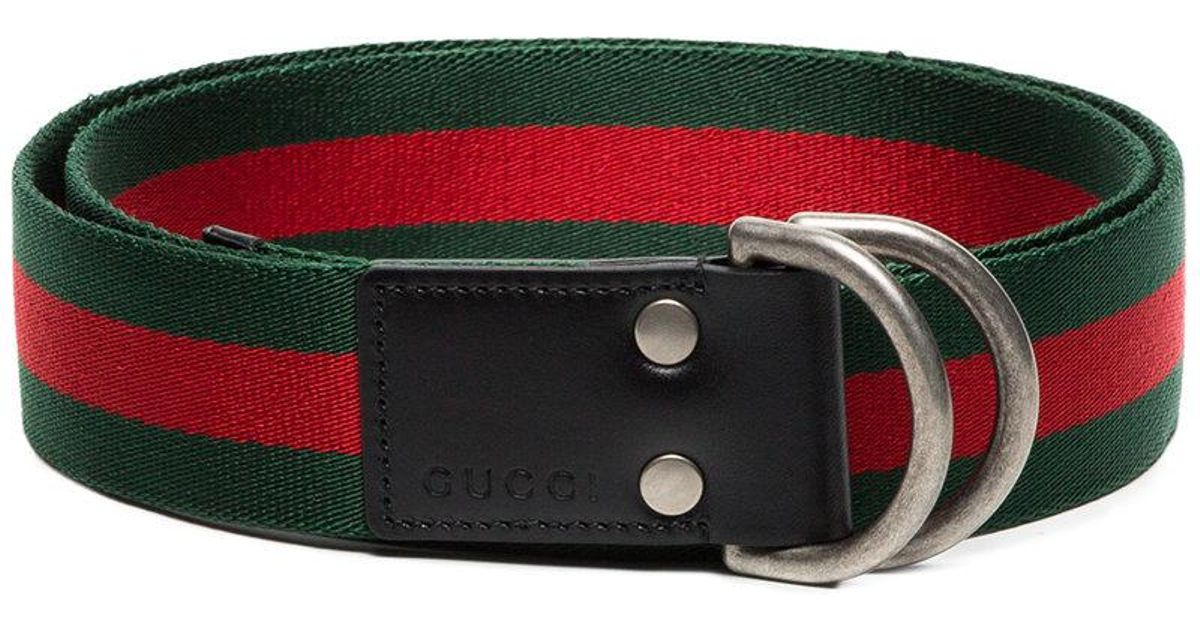 45b5f116fe8 Lyst - Gucci Green And Red Web D-ring Belt in Red for Men