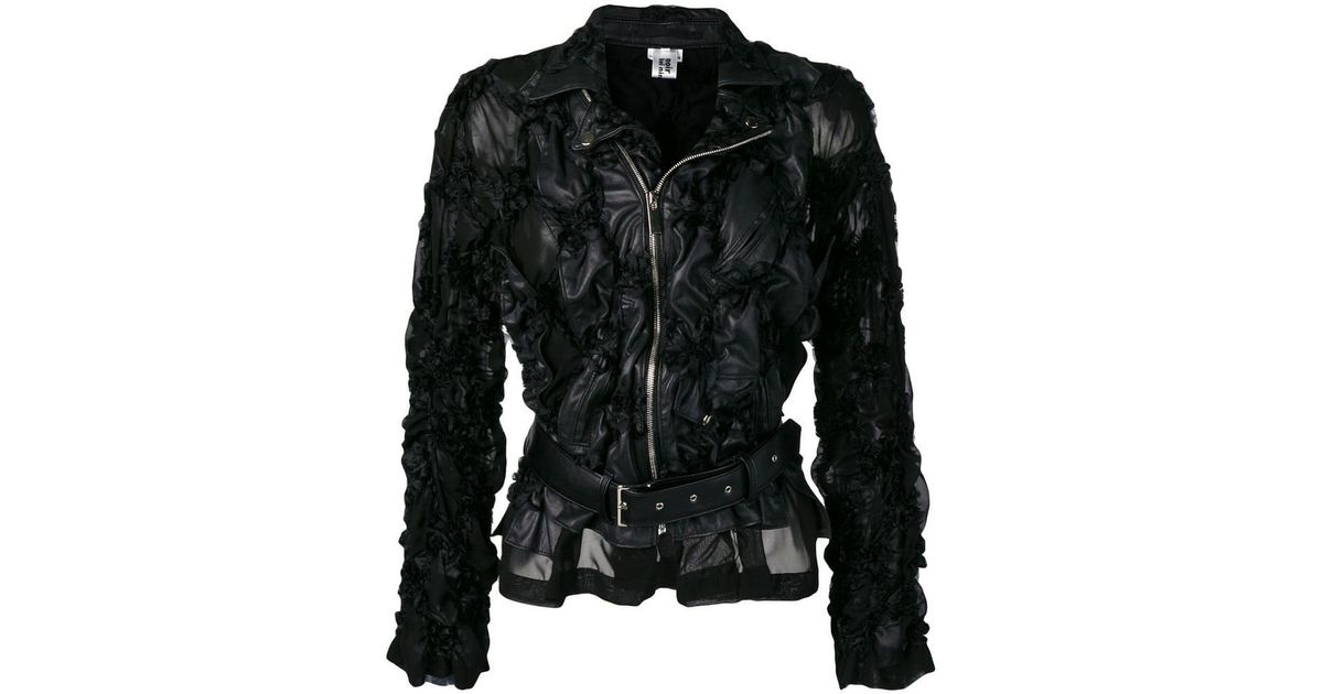 32de2b2a5e Lyst - Comme des Garçons Ruched Faux Leather Jacket in Black