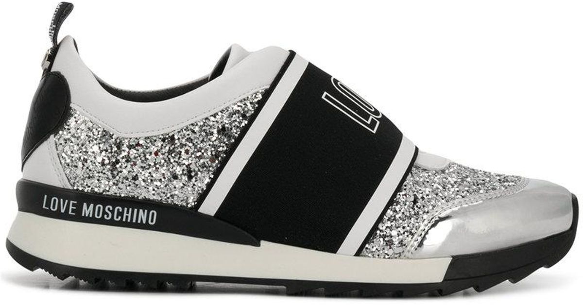 b5049e2c2410 Lyst - Love Moschino Love Glitter Sneakers in White