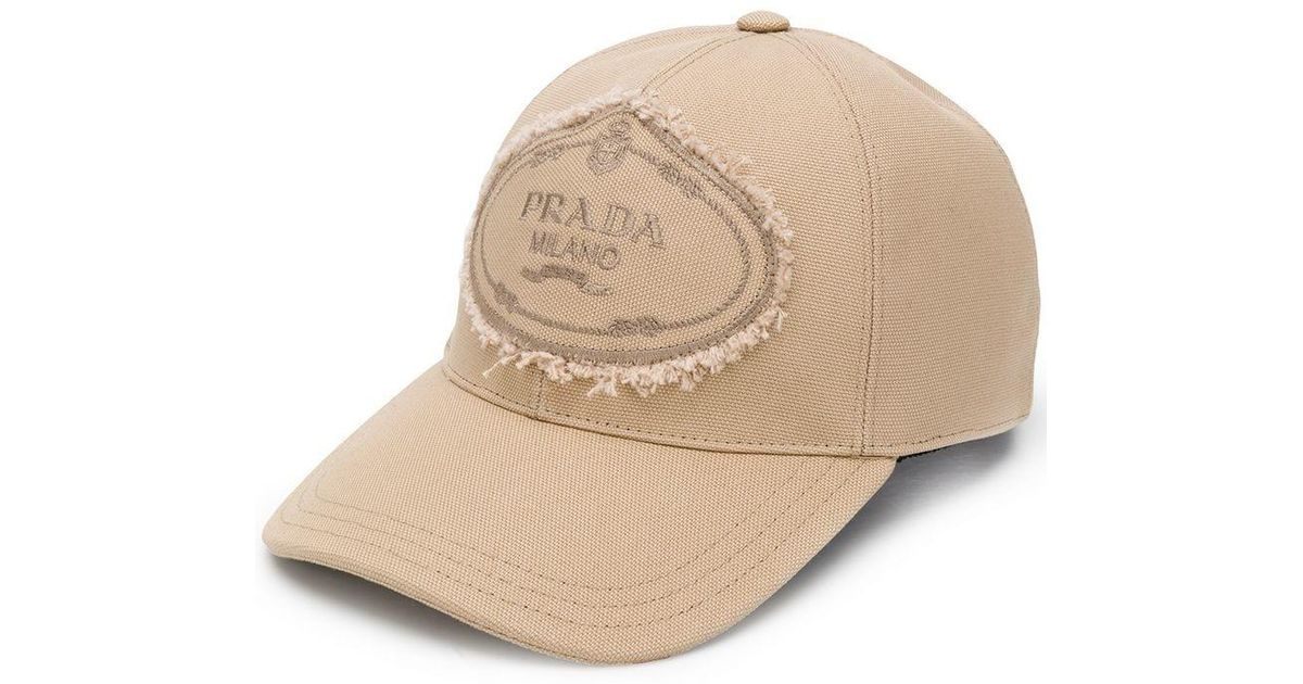 d563624e083 Prada Fringed Logo Patch Cap in Natural - Lyst