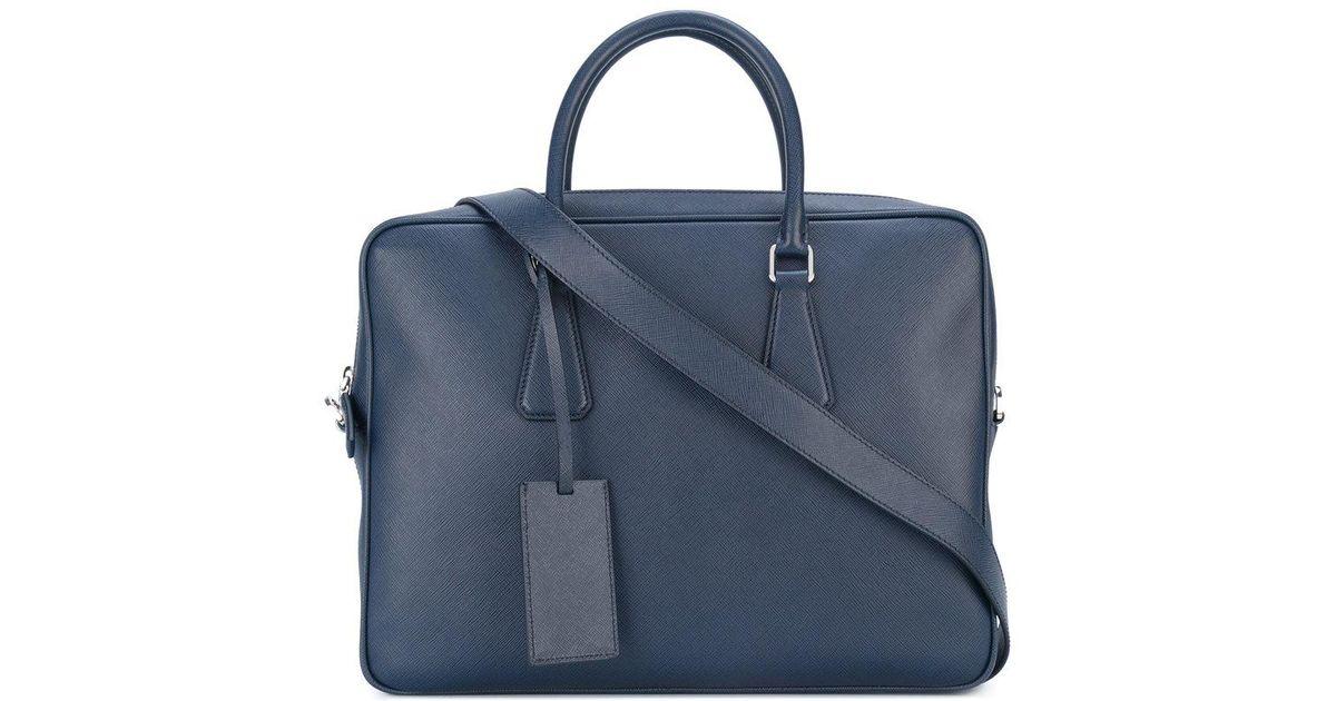 3200ae6b308f Prada Removable Strap Laptop Bag in Blue for Men - Lyst