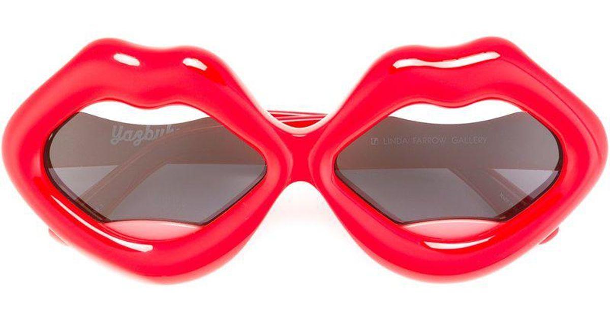 7c259420db0 Linda Farrow  cherry Lips  Sunglasses in Red - Lyst