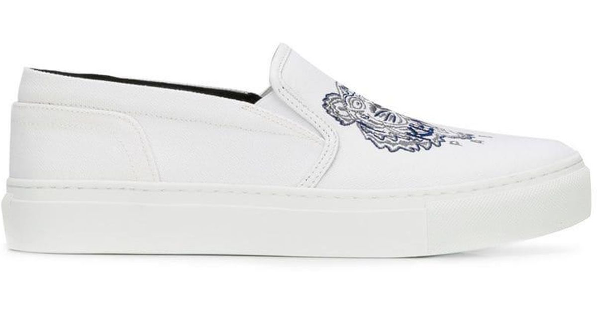 a851cacc34c3 In Kenzo Lyst Tiger Slip Embroidered Sneakers White On zdHqwYd