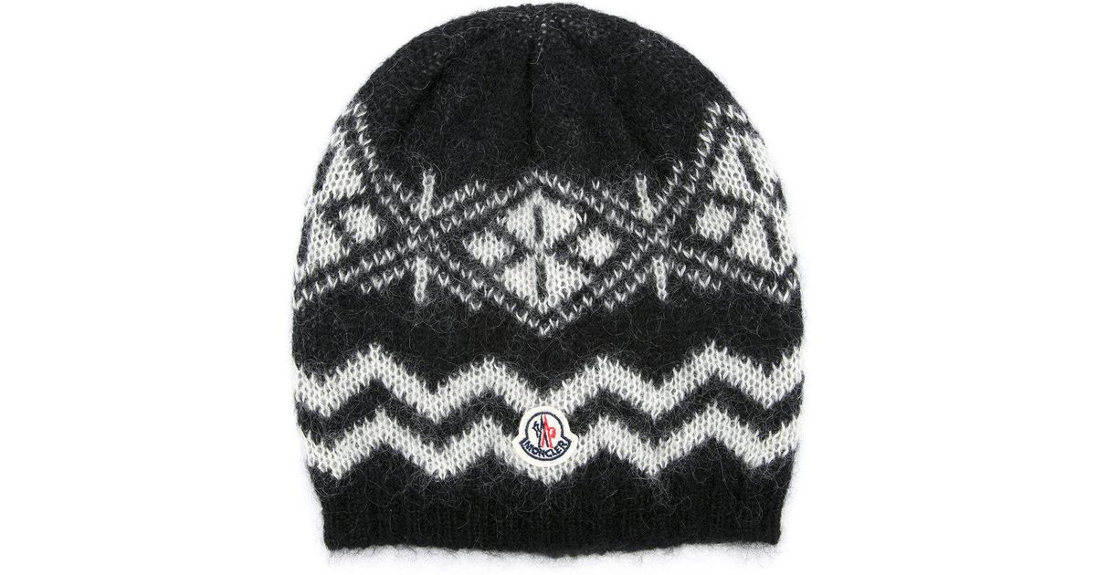 c6f34126d59 Lyst - Moncler Patterned Beanie Hat in Black