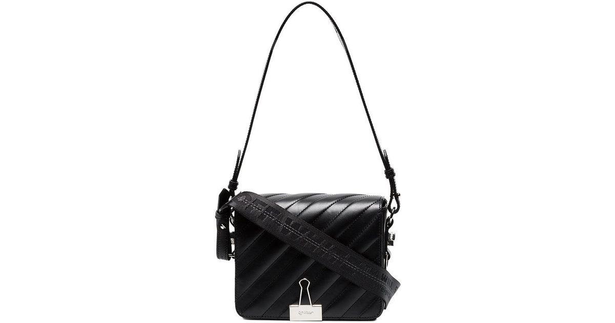 9031240a385a Off-White C O Virgil Abloh Black Padded Binder Clip Leather Shoulder Bag in  Black - Lyst