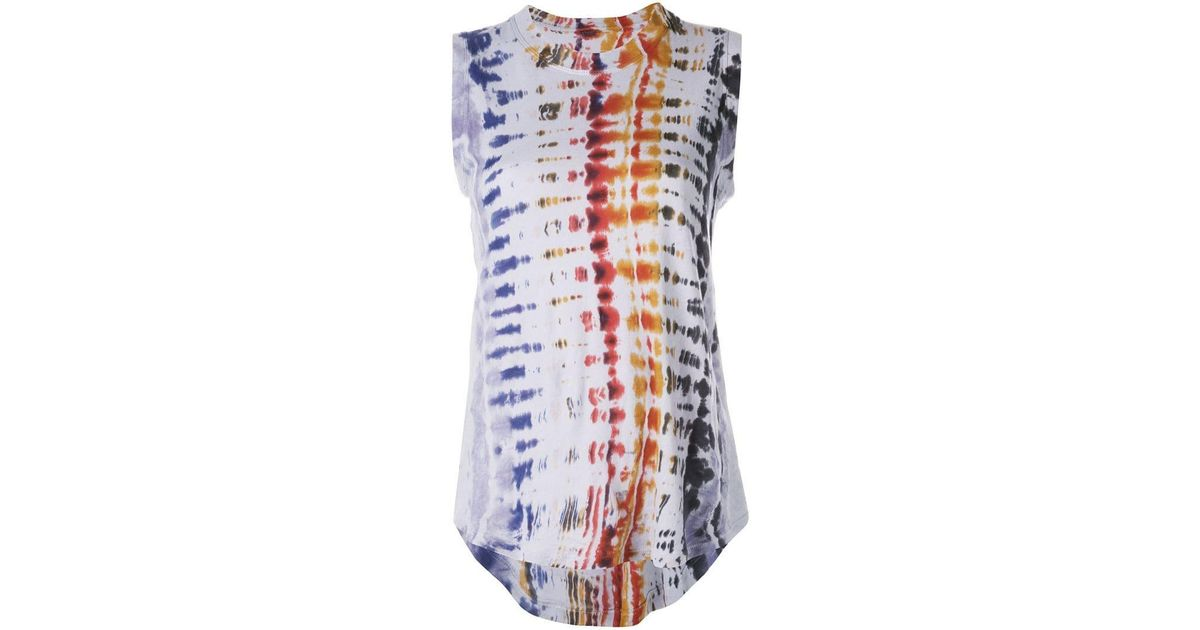 a32234ab42666e Lyst - Raquel Allegra Tie-dye Tank Top in Blue