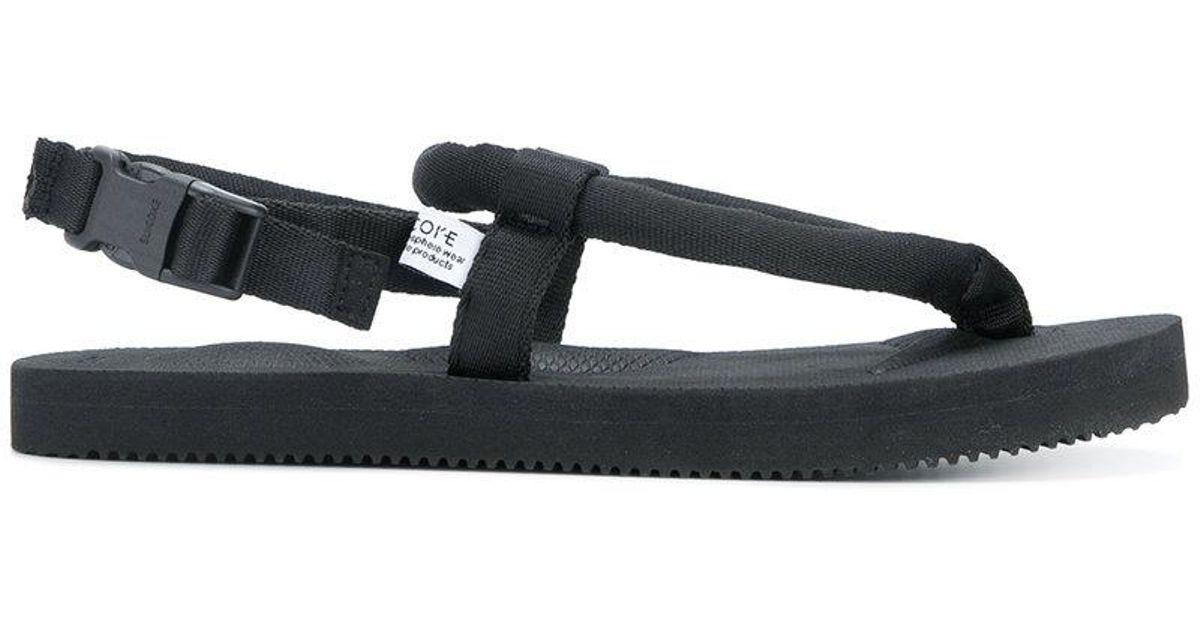 47c220fc1867 Lyst - Suicoke Sling Back Strap Flip-flops in Black for Men