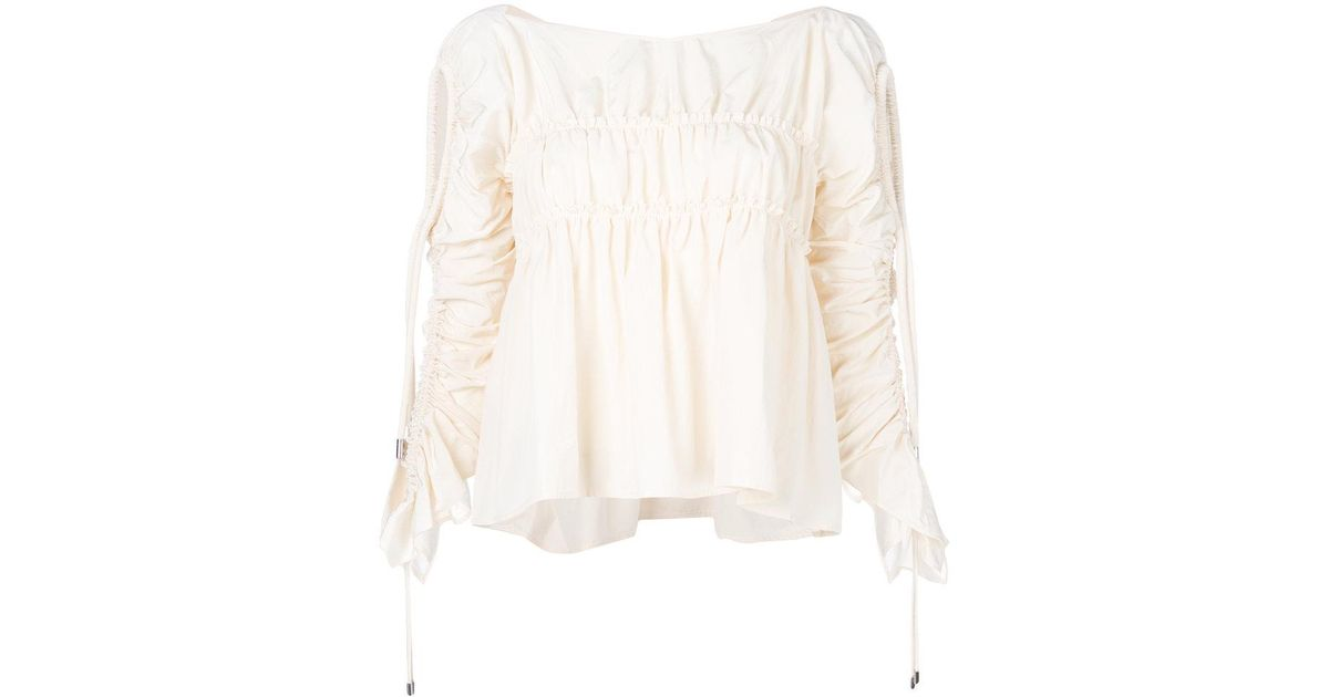 flared ruched blouse - White Carven New Styles For Sale Original Online Outlet Explore GdROV