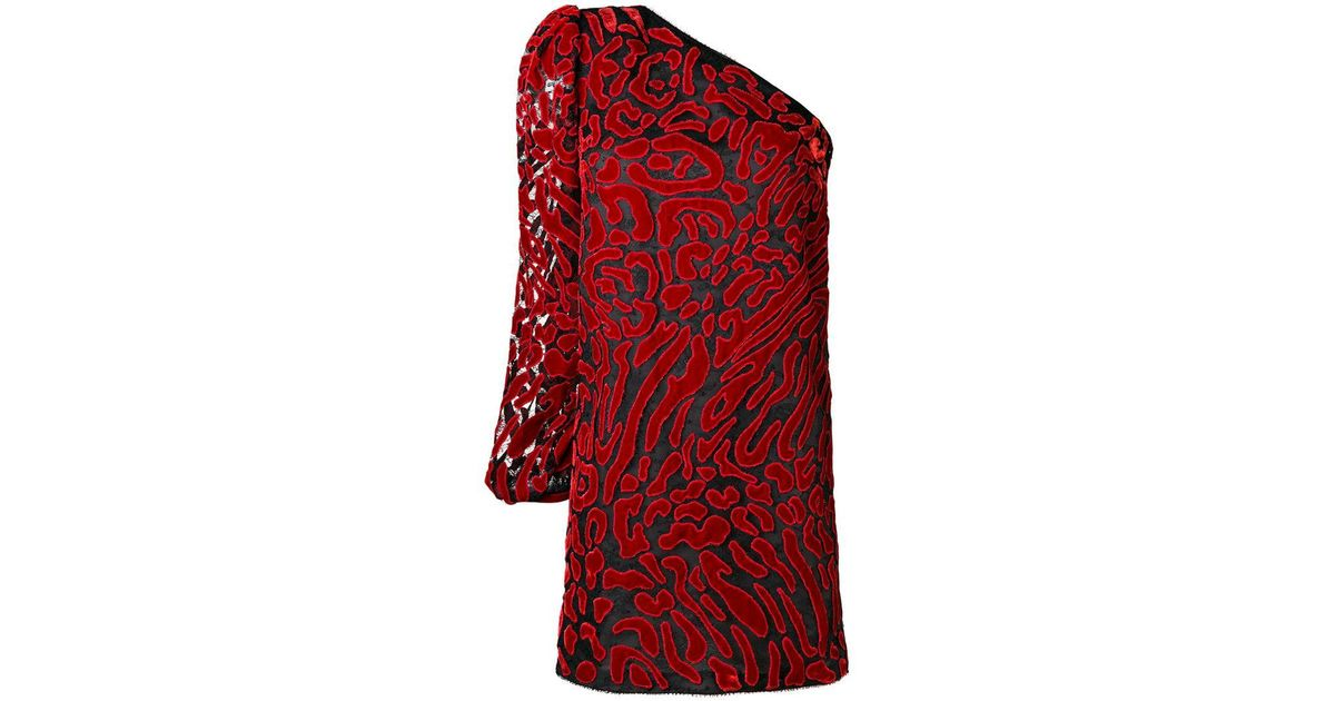 35589f540c Givenchy One Shoulder Leopard-print Dress in Red - Lyst
