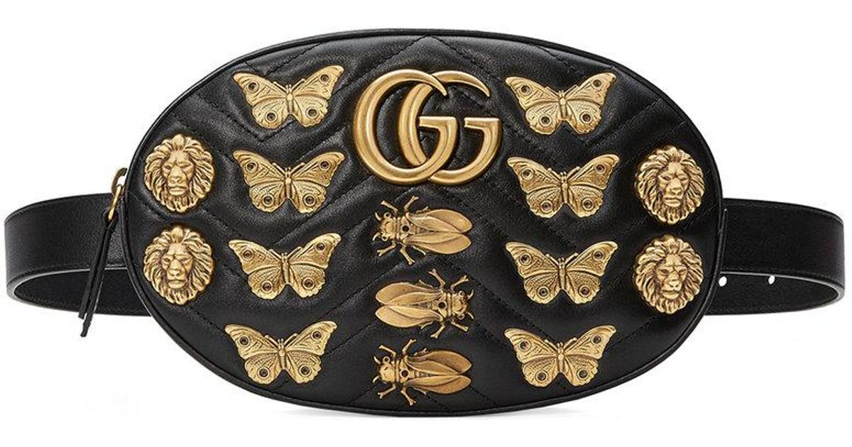 cc5c539fa0e1 Gucci Gg Marmont Animal Studs Leather Belt Bag in Black - Lyst
