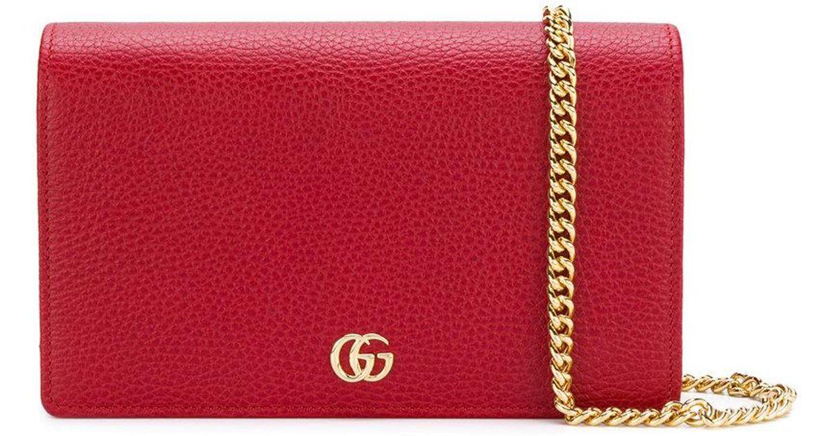 5fc7df0cc2e Lyst - Gucci Gg Marmont Mini Chain Bag in Red