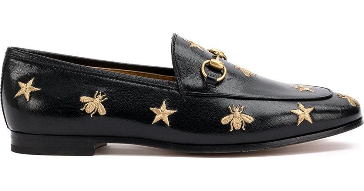 f1b715860cb Gucci Jordaan Star And Bee Embroidered Loafers in Black for Men - Lyst