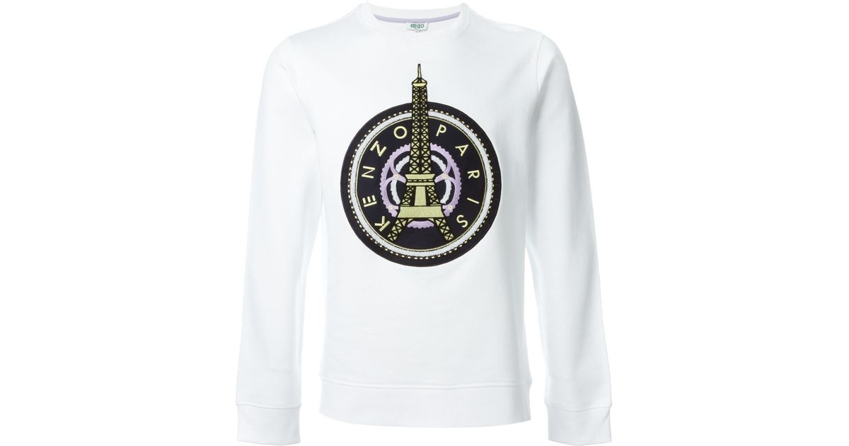 f3bf8a428 KENZO 'eiffel Tower' Sweatshirt in White for Men - Lyst